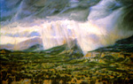 Rain Shadows near Cochiti, NM pastel by Jeff Potter  SOLD