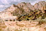 Domingo Baca Canyon below Sandia Crest oil by Jeff Potter AVAILABLE