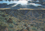 Volcanic Escarpment Storm pastel by Jeff Potter ORIGINAL &  ARCHIVAL PRINT AVAILABLE
