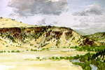 Los Mogotes Mesa along the Conejos River watercolor by Jeff Potter