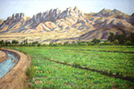 Mesilla Valley and Organ Mts. pastel by Jeff Potter   SOLD