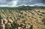 Tres Pistolas Trail View of Manzano Mts. oil by Jeff Potter <p>