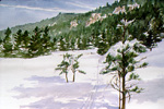 Ski Tracks in Valle San Antonio watercolor by Jeff Potter  SOLD