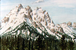 Late Spring Snow holds in the Teton Range watercolor by Jeff Potter
