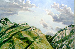 Wasatch Front Cloud Buildup watercolor by Jeff Potter