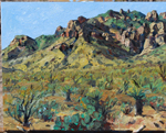 Chiricahua Mountain View near Portal, AZ - plein air oil painting by Jeff Potter AVAILABLE