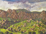 Plein air oil sketch in Sandia Mountain foothills by Jeff Potter SOLD