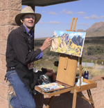 Jeff painting the Organ Mountains on November 29, 2008