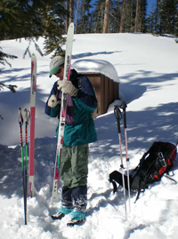 I am applying wax on my XC skkis at the Flat Mountain Yurt, located at 11,000 feet elevation