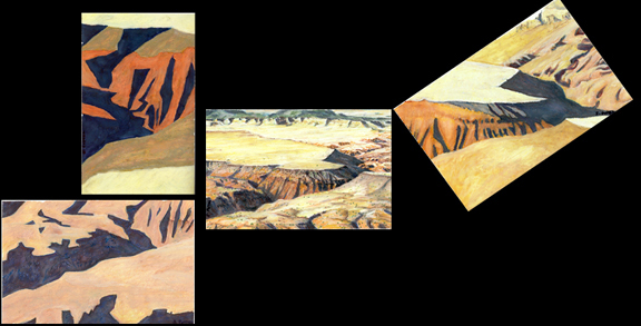 Hidden Mountain motifs oil pastels series by Jeff Potter  AVAIL. INDIV. OR AS SET
