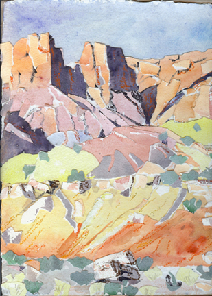 Beyond Long Canyon collage by Jeff Potter SOLD