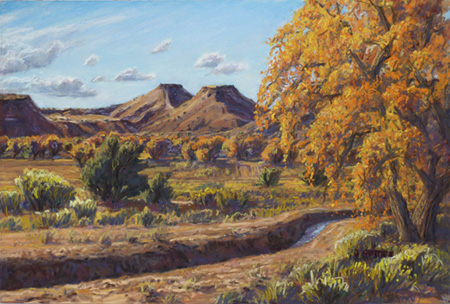 Autumn in Algodones plein air pastel by Jeff Potter AVAILABLE