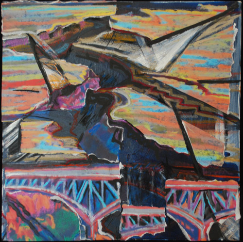 """Fractured"" Rio Grande Gorge collage + acrylic / oil pastel by Jeff Potter AVAILABLE"