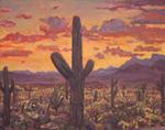 Arizona Sahuaro Sunset oil painting by Jeff Potter SOLD