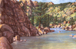 Arkansas River Shadows - pastel done en plein air by Jeff Potter AVAILABLE