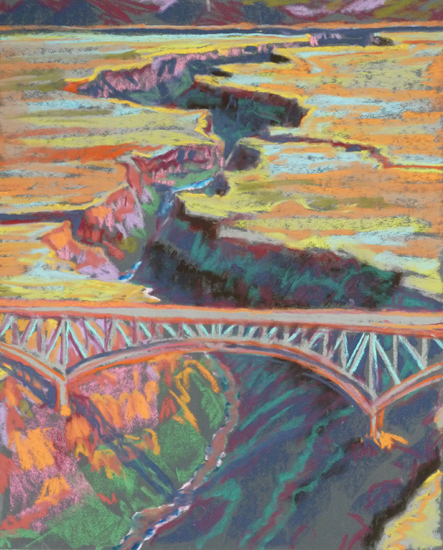 Rio Grande Gorge Bridge Extreme Color pastel by Jeff Potter AVAILABLE