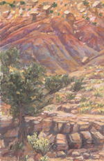 Plein Air pastel from an area with striking colored hills AVAILABLE