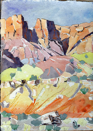 Beyond Long canyon watercolor paper collage AVAILABLE