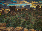 Castle Rock Sunset plein air oil painting by Jeff Potter AVAILABLE