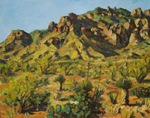 Chiricahua Mountain view near Portal, AZ plein air oil painting by Jeff Potter AVAILABLE
