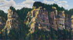 Columbia River Gorge Cliffs plein air pastel by Jeff Potter AVAILABLE