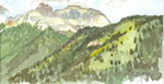 Cotbett Peak 4 x 7 plein air watercolor by Jeff Potter AVAILABLE