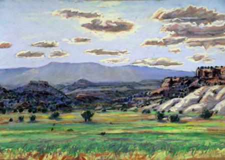 Escalante Valley View west towards Aquarius Plateau plein air pastel by Jeff Potter AVAILABLE