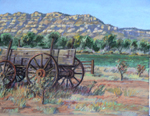 Escalante Utah Wagon plein air pastel by Jeff Potter  SOLD