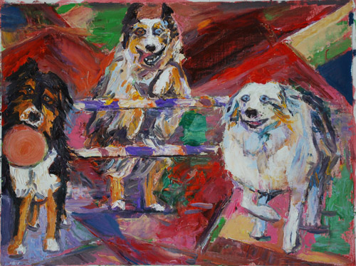 Three Aussie Fun Love oil painting by Jeff Potter <p>