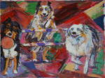 Three Aussie Fun Love oil painting by Jeff Potter SOLD