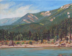 Fire smoke at Morphy Lake plein air oil painting by Jeff Potter AVAILABLE