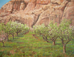 Apple and Peach Orchard in Bloom, Capitol Reef NP oil by Jeff Potter AVAILABLE