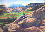 Henry Mountain Haze pastel by Jeff Potter SOLD