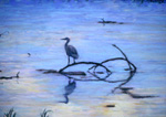 Great Blue Heron Sillouette pastel by Jeff Potter   SOLD