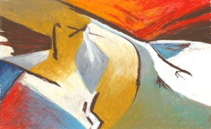 Jeff Potter- experimental group - 3 Sandhill Cranes abstraction oil pastel AVAILABLE