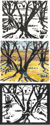 Tres Arboles tryptch - ink print with oil pastel AVAILABLE IND. OR AS SET