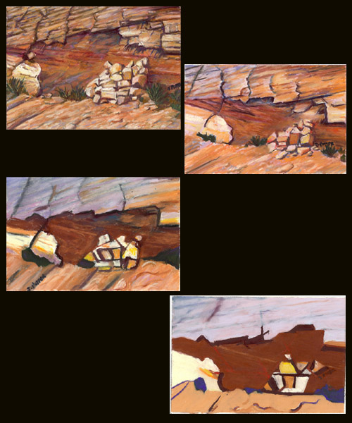 Escalante Rock Fall pastel series by Jeff Potter  AVAIL. INDIV. OR AS SET