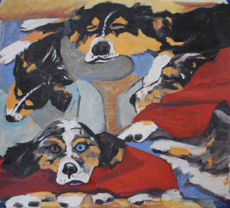 Doggie Dream Menagerie OIL COLLAGE by Jeff Potter