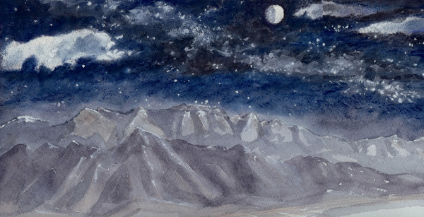 Sandia Night Sky watercolor+pastel by Jeff Potter AVAILABLE