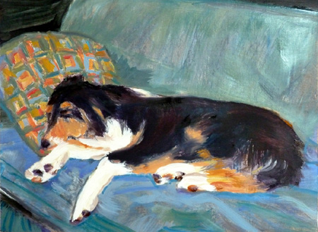 Azor Sleeping oil painting by Jeff Potter AVAILABLE