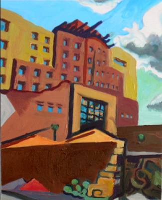 Jeff Potter Experimental Art Group - Sandia Casino abstraction - oil painting AVAILABLE