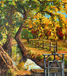 Lane lateral Ditch with Autumn Foliage oil painting by Jeff Potter SOLD
