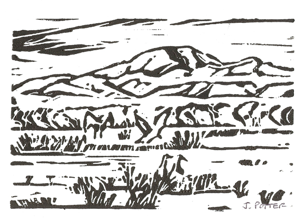 "Cranes Landing at Bosque del Apache NWR Linoleum Block print by Jeff Potter 4"" x 6"""
