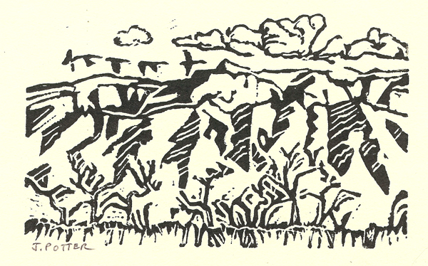 "Sandias and Cranes patterns Linoleum Block print by Jeff Potter 4"" x 6"""