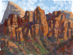 Looking up West Kolub at Zion NP oil monotype by Jeff Potter SOLD