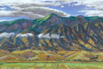Low clouds, Sandia Mountains pastel painting by Jeff Potter AVAILABLE