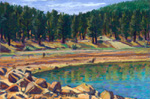 Low water at Morphy Lake plein air pastel by Jeff Potter SOLD