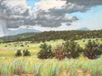 Plein air pastel of a summer monsoon storm in the Manzano East mountains SOLD