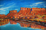Moab Cliffs and Colorado River pastel by Jeff Potter AVAILABLE