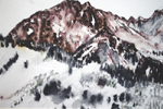 Mount Hayden near Aspen watercolor pen study done plein air by Jeff Potter AVAILABLE